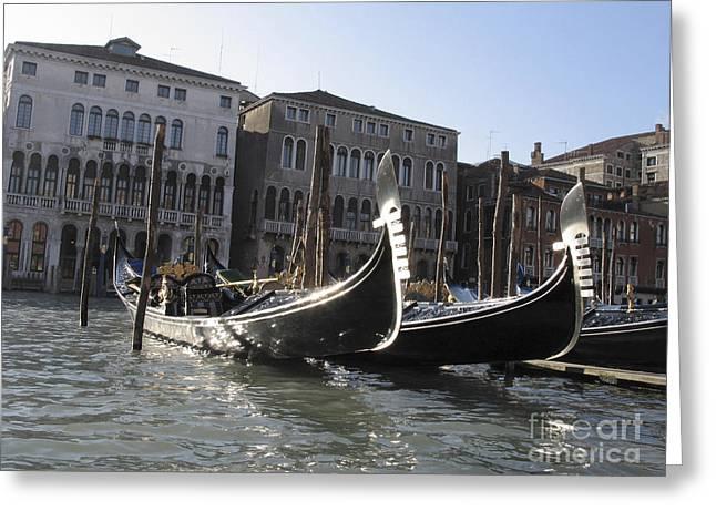 Gran Canal Greeting Cards - Gondolas. Venice Greeting Card by Bernard Jaubert