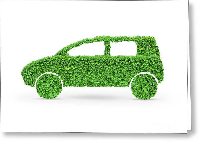 Family Car Greeting Cards - Green Car Greeting Card by Oleksiy Maksymenko