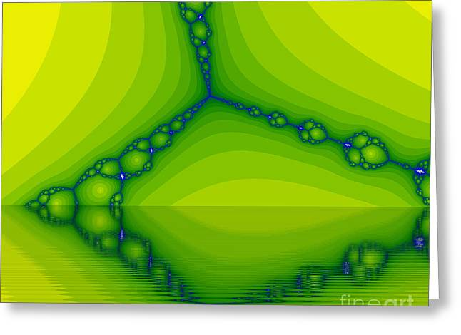 Sweating Digital Art Greeting Cards - Green fractal Greeting Card by Odon Czintos