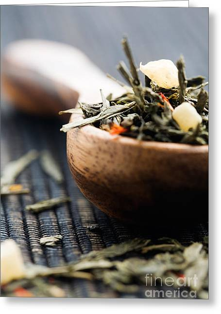 Wooden Bowl Greeting Cards - Green tea Greeting Card by Kati Molin