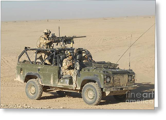 Gurkhas Patrol Afghanistan In A Land Greeting Card by Andrew Chittock