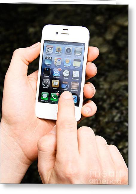 Cellphone Greeting Cards - Hands Holding An Iphone Greeting Card by Photo Researchers, Inc.