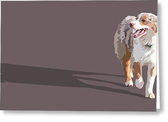 Panting Dog Greeting Cards - Happy Aussie Greeting Card by Kris Hackleman