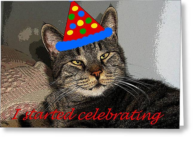 Pictures Of Cats Greeting Cards - Happy New Year Greeting Card by Dale   Ford
