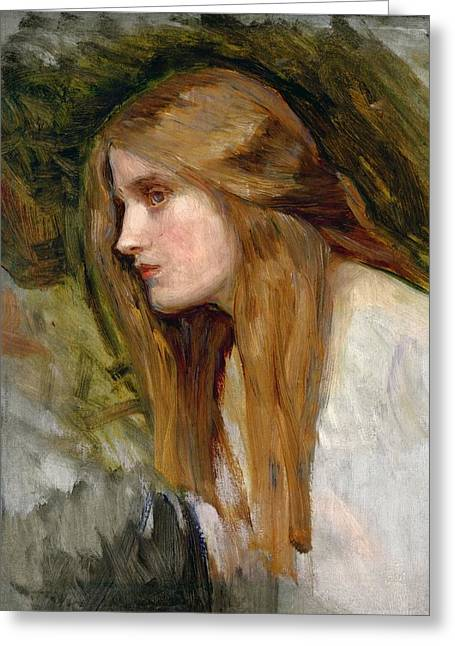 Face Of A Woman Greeting Cards - Head of a Girl Greeting Card by John William Waterhouse