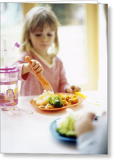 3 Year Old Girl Greeting Cards - Healthy Eating Greeting Card by Ian Boddy
