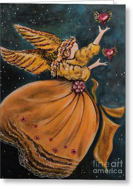 Winged Pastels Greeting Cards - 2 Hearts Greeting Card by Carla Carson