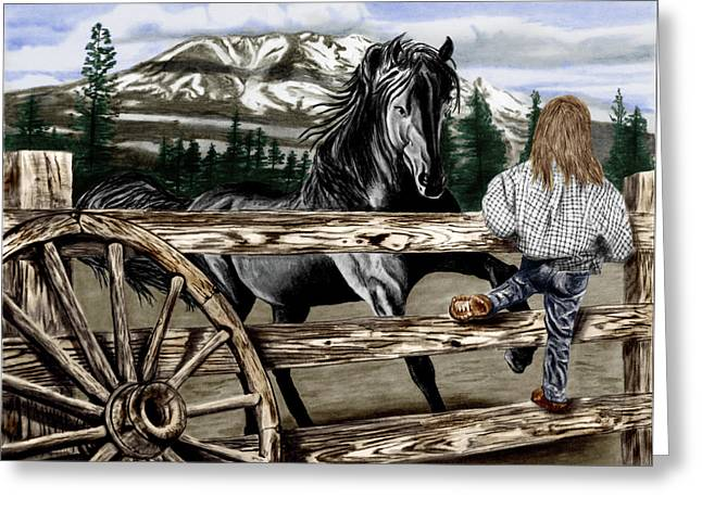 Wagon Drawings Greeting Cards - Hello Girl Greeting Card by Peter Piatt