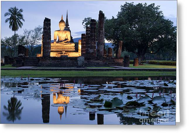 Reflex Greeting Cards - Historical temple park in Thailand. Greeting Card by Anek Suwannaphoom