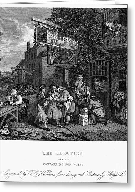 Hogarth Greeting Cards - Hogarth: Election Greeting Card by Granger
