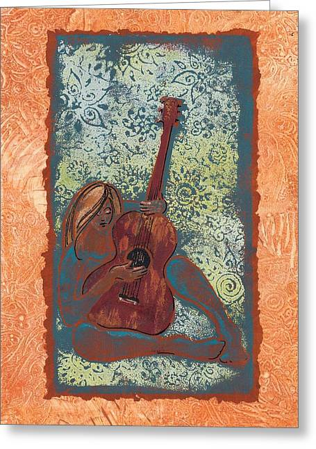 Recently Sold -  - Printmaking Greeting Cards - I Love My Guitar Greeting Card by Ingrid  Schmelter