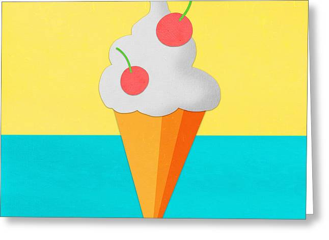 Labelled Mixed Media Greeting Cards - Ice Cream On Hand Made Paper Greeting Card by Setsiri Silapasuwanchai