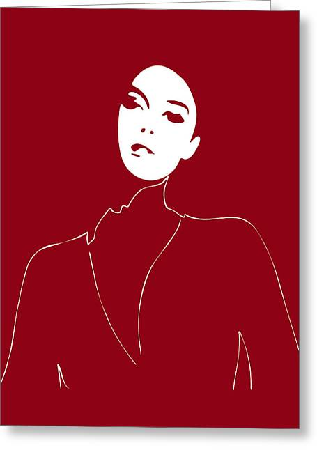 Fashion Week Greeting Cards - Illustration of a woman in fashion Greeting Card by Frank Tschakert