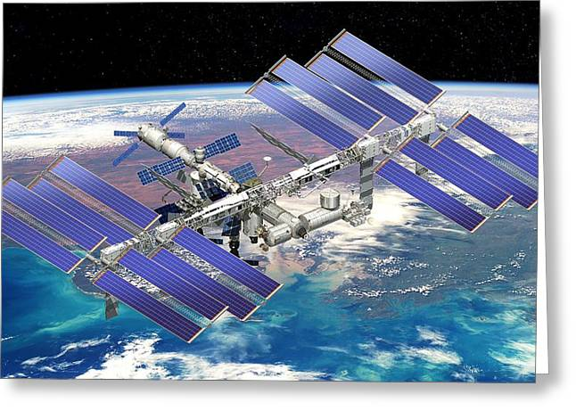 Resupply Greeting Cards - International Space Station, Artwork Greeting Card by David Ducros