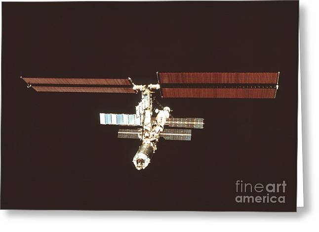 Destiny Photographs Greeting Cards - International Space Station Greeting Card by NASA / Science Source