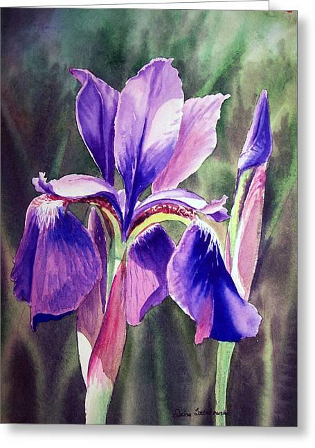 Purple Iris Greeting Cards - Iris Painting Greeting Card by Irina Sztukowski