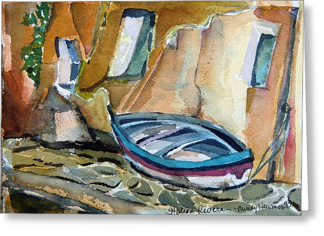 Docked Boat Mixed Media Greeting Cards - Italian Riviera Greeting Card by Mindy Newman