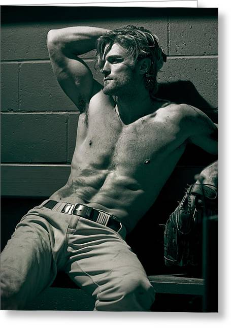 Male Model Greeting Cards - James Greeting Card by Invicta
