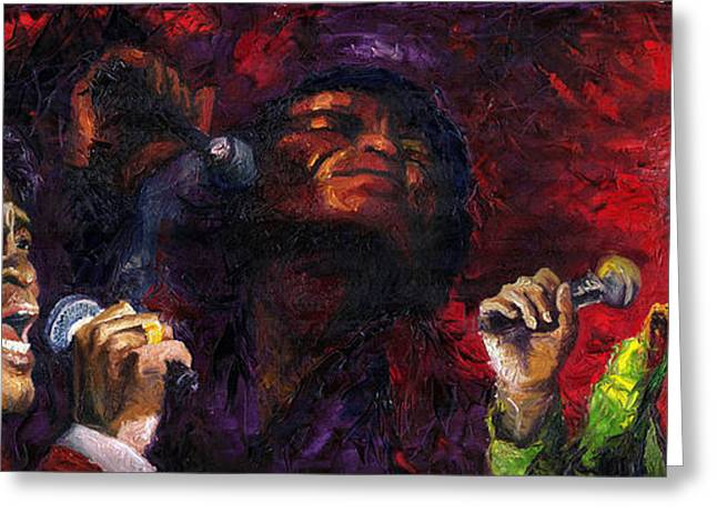 James Paintings Greeting Cards - Jazz James Brown Greeting Card by Yuriy  Shevchuk
