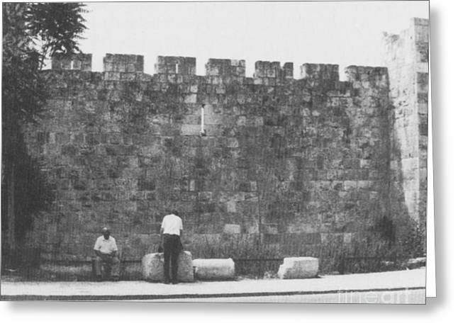 The Crusades Greeting Cards - Jerusalem City Wall, Historic Site Greeting Card by Photo Researchers