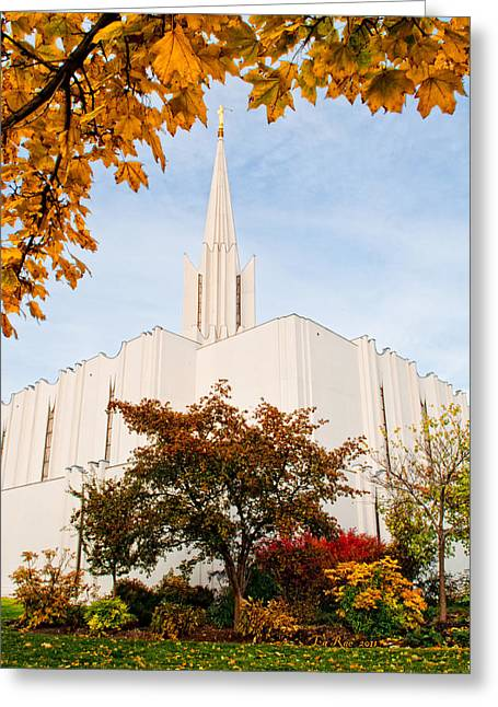 Jordan River Temple Greeting Card by La Rae  Roberts