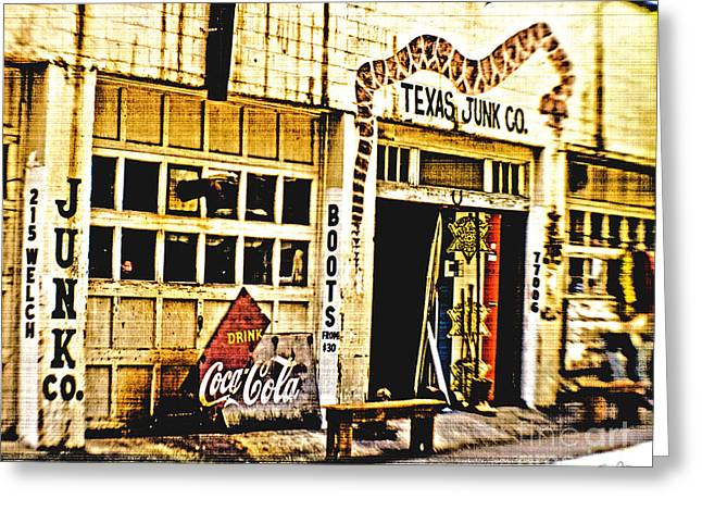 Texas Boots Greeting Cards - Junk Company Greeting Card by Scott Pellegrin