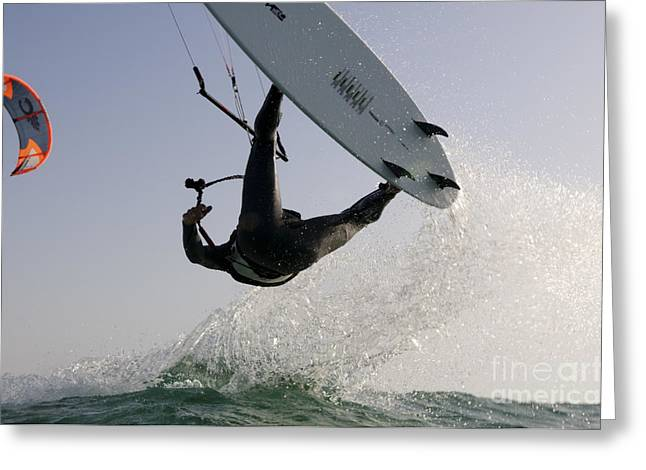Para Surfing Greeting Cards - Kitesurfing board Greeting Card by Hagai Nativ
