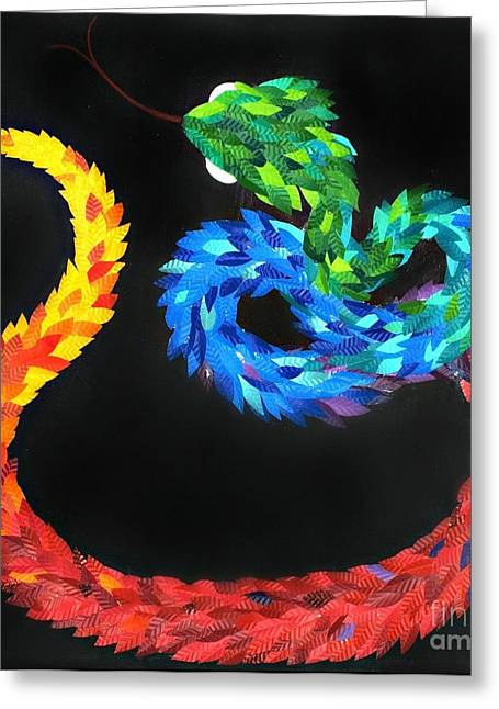Print Sculptures Greeting Cards - KUKULKAN - The Feathered Serpent Greeting Card by Mitza Hurst