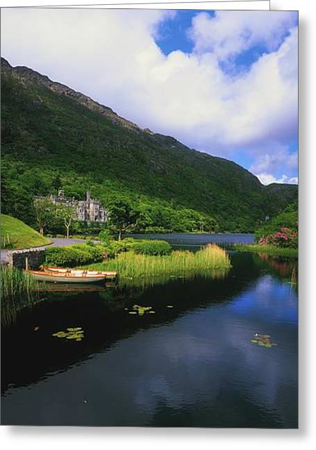Boats In Reflecting Water Photographs Greeting Cards - Kylemore Abbey, Co Galway, Ireland Greeting Card by The Irish Image Collection