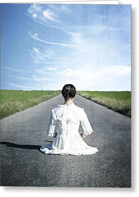 Period Greeting Cards - Lady On The Road Greeting Card by Joana Kruse