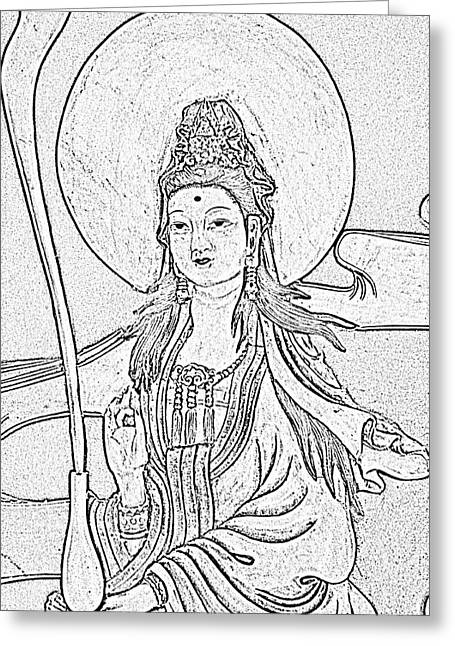 Oriental Woman Photos Greeting Cards - Lady Greeting Card by Rebecca Frank