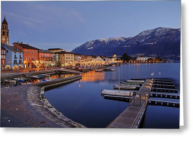 Boats At Dock Greeting Cards - Lake Maggiore - Ascona Greeting Card by Joana Kruse