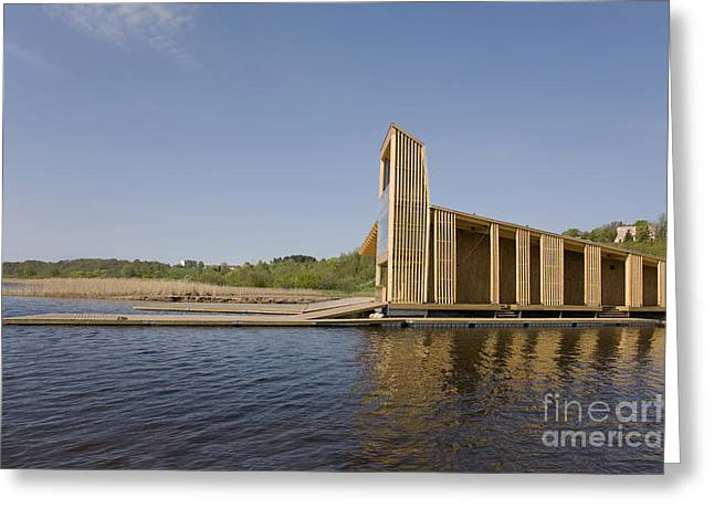 Best Sellers -  - Wooden Platform Greeting Cards - Lakeside Building And Dock Greeting Card by Jaak Nilson
