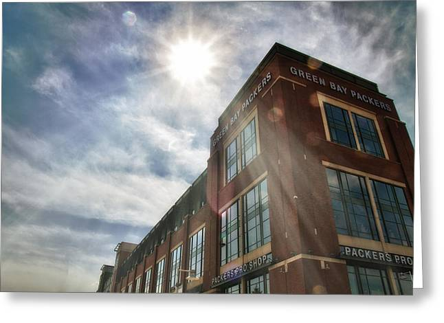 Pro Football Greeting Cards - Lambeau Field Greeting Card by Joel Witmeyer