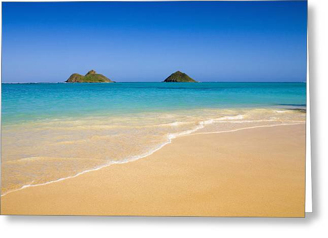 Recently Sold -  - Ocean. Reflection Greeting Cards - Lanikai, Mokulua Islands Greeting Card by Tomas del Amo - Printscapes
