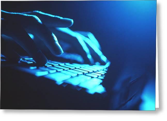 Computing Greeting Cards - Laptop Computer Greeting Card by Tek Image
