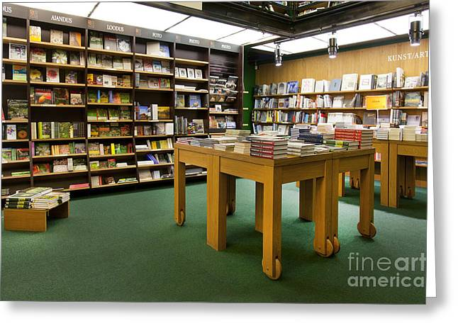 Shelving Greeting Cards - Large Bookstore Interior Greeting Card by Jaak Nilson