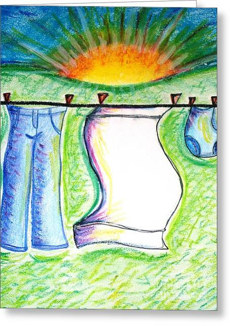 Laundry Day Greeting Card by Susan George