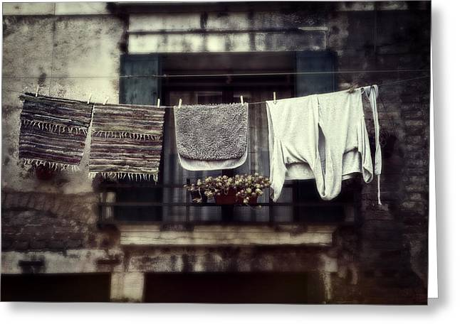 Bathrobe Greeting Cards - Laundry Greeting Card by Joana Kruse
