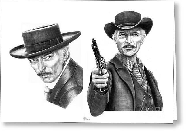 Cowboy Pencil Drawing Greeting Cards - Lee Van Cleef Greeting Card by Murphy Elliott