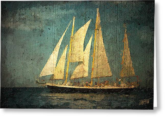 Schooner Mixed Media Greeting Cards - Liberte Greeting Card by Michael Petrizzo