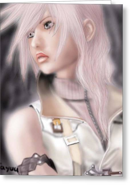 Final Fantasy Greeting Cards - Lightning. Final Fantasy 13 Greeting Card by Sandra Geis