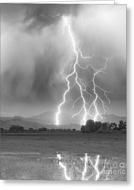 Storm Prints Greeting Cards - Lightning Striking Longs Peak Foothills 6 Greeting Card by James BO  Insogna