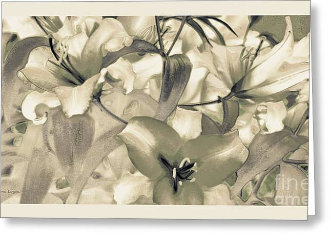 Moss Green Greeting Cards - Lily Garden Greeting Card by Jayne Logan Intveld