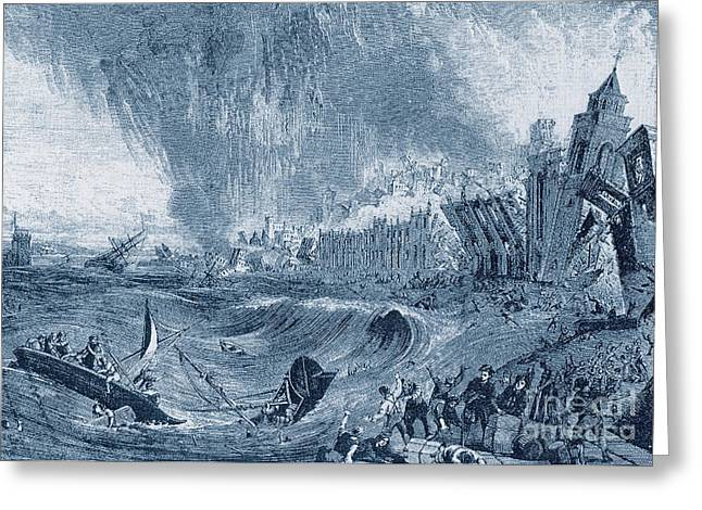Conditions Greeting Cards - Lisbon Tsunami, 1755 Greeting Card by Science Source