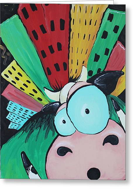 Lost Eyes Greeting Cards - Little Cow Lost Greeting Card by Jennifer Alvarez