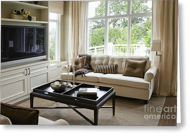 Hardwood Flooring Greeting Cards - Living Room in an Upscale Home Greeting Card by Shannon Fagan