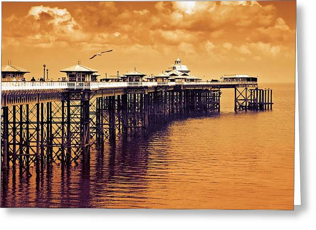 Father Greeting Cards - Llandudno pier North Wales UK Greeting Card by Mal Bray