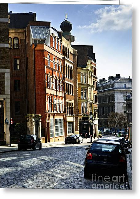 English Car Greeting Cards - London street Greeting Card by Elena Elisseeva