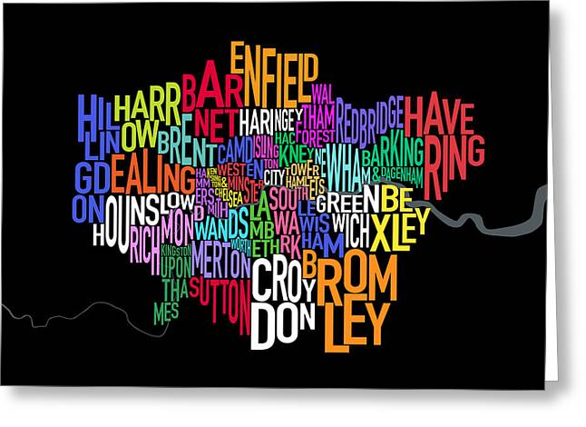 Cartography Digital Art Greeting Cards - London UK Text Map Greeting Card by Michael Tompsett